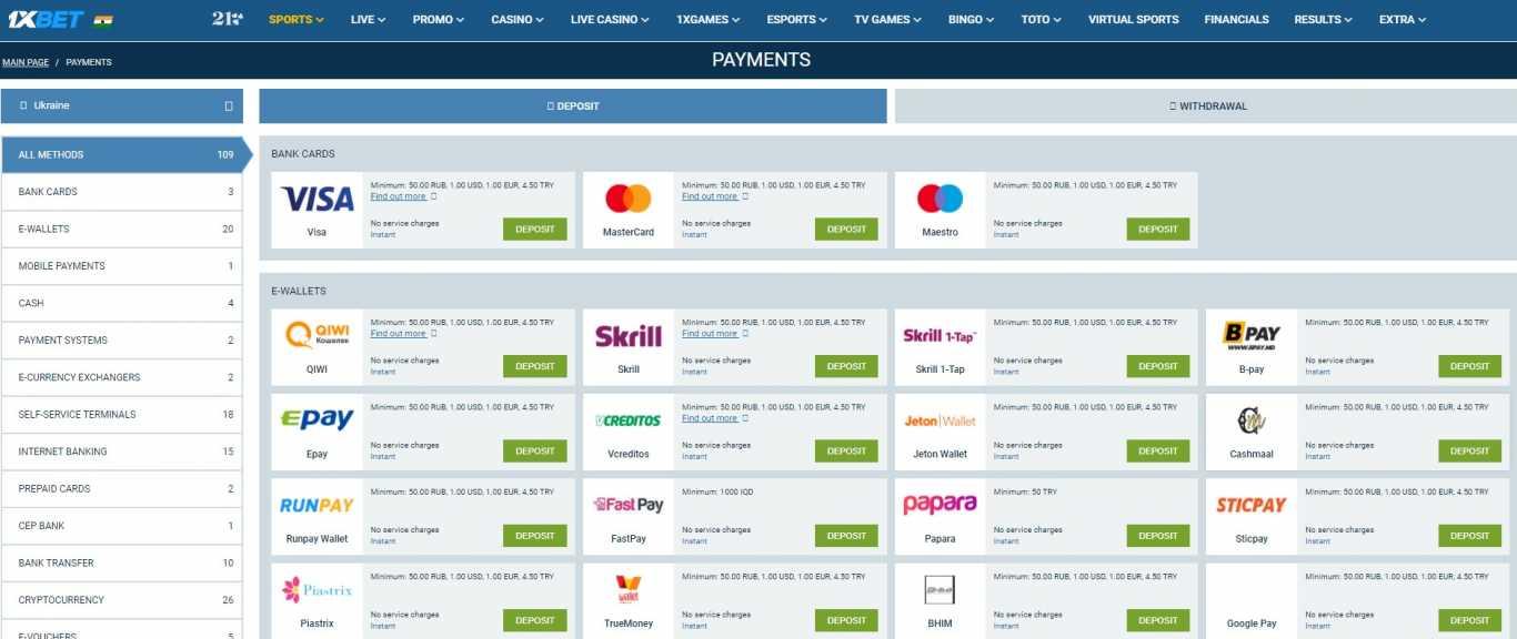1xBet Minimum Deposit for India